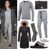 Rihanna: Gray Sweats, Fur Sandals