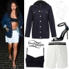 Rihanna: Lace Tunic, Pearl Sandals