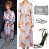Rihanna: Floral Robe Dress, Silver Sandals