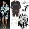 Rihanna: White Dress, Embroidered Bag