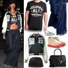 Rihanna: Print Bomber Jacket, Frayed Jeans