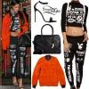 Rihanna: Graphic Turtleneck & Sweatpants