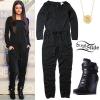 Selena Gomez: Black Jumpsuit, Wedge Sneakers