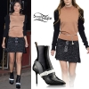 Selena Gomez: Colorblock Sweater, Sparkly Skirt