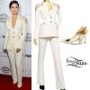 Selena Gomez: Cream Suit, Gold Pumps