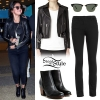 Selena Gomez: Black Vest Coat, Green-White Bag