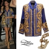 Selena Gomez: Baroque Shirt, Gold Sandals