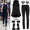 Selena Gomez: Pinstripe Shirt, Black Boots