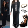 Selena Gomez: Striped Gown, Suede Pumps