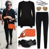 Selena Gomez: Asymmetric Sweater, Black Leggings