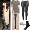 Selena Gomez: Striped T-Shirt, Leather Pants
