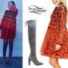 Selena Gomez: Printed Dress, Suede Boots