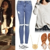 Selena Gomez: Open Shoulder Sweater, Ripped Jeans