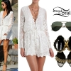 Selena Gomez: Embroidered Romper, Spike Sandals