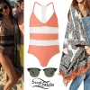 Selena Gomez: Leopard Swimsuit, Print Kimono