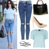 Selena Gomez: Print Kimono, Ripped Jeans