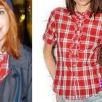 Hayley Williams: Red Plaid Ruffle Shirt