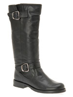 Aldo Brendal Black Leather Motorcycle Boots