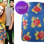 Hayley Williams: Blue Floral Miniskirt