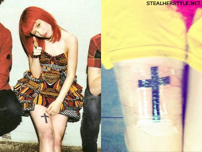 Hayley Williams cross tattoo