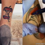 Sierra Kusterbeck apple core ankle tattoo