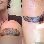 Sierra Kusterbeck bandaid knee tattoo