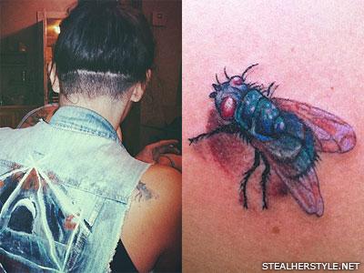 Sierra Kusterbeck fly shoulder tattoo