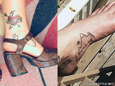 Sierra Kusterbeck mountain foot tattoo