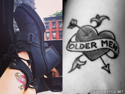 Sierra Kusterbeck older men ankle tattoo