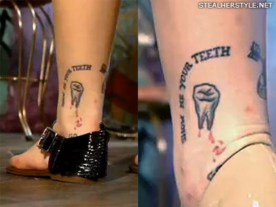 Sierra Kusterbeck tooth ankle tattoo