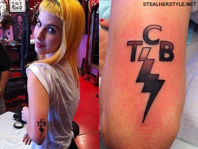 Hayley Williams' TCB lightning bolt Elvis tattoo