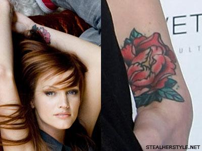 Ashlee Simpson peony tattoo