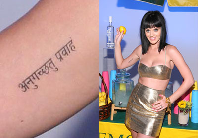 Katy Perry sanskrit tattoo