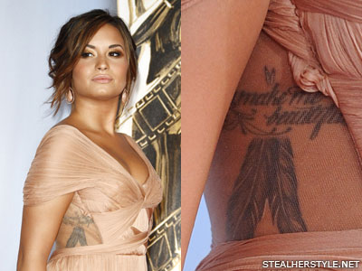 Demi Lovato You Make Me Beautiful feather side tattoo