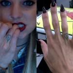 Juliet Simms heart and cross tattoo on her finger