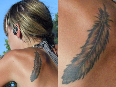 Juliet Simms feather tattoo