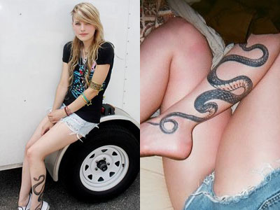 Juliet Simms snake tattoo