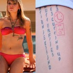 Juliet Simms thigh tattoo