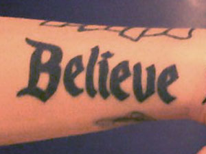 Ash Costello Believe Disney wrist tattoo