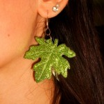 Mindy's Wonderland Glittery Green Leaf Earrings