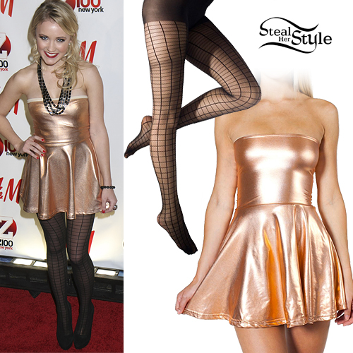 Emily Osment: Gold Dress, Grid Tights