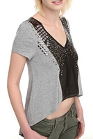 Hot Topic Grey And Black Stud Top