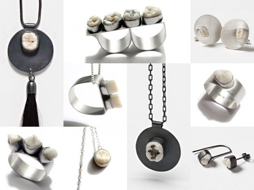 human tooth jewelry by Polly van der Glas