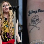 Avril Lavigne skull and crossbones tattoo