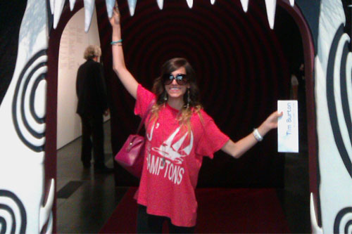 Mindy White at a Tim Burton exhibit