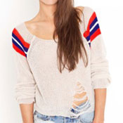 Nasty Gal shredded varsity sweater