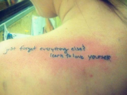 Jacqui Sandell's lyric tattoo on her shoulder