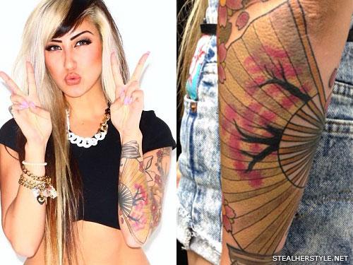 Allison Green fan arm tattoo
