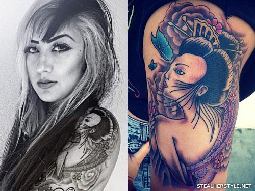 Allison Green geisha arm tattoo