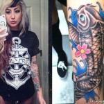 Allison Green koi fish arm tattoo